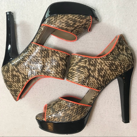7126e79ca BCBGeneration Shoes | Bcbg Snakeskin Pumps Neon Orange Trim Zipper ...